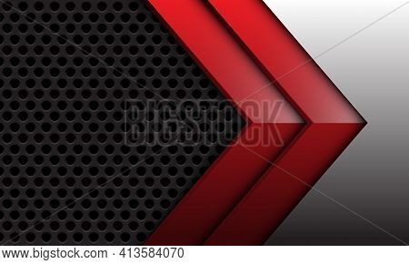 Abstract Red Twin Arrow Glossy Direction Grey Metallic On Dark Circle Mesh Texture Pattern Design Mo