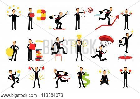 Energetic Businessman Lifting Dumbbell And Standing With Open Book Vector Illustration Set