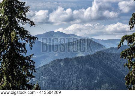 Chopok Hill From Slema, Low Tatras, Slovak Republic. Hiking Theme. Seasonal Natural Scene.