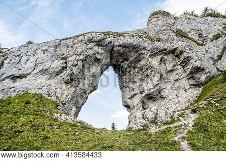 Biggest Rocky Window, Ohniste, Low Tatras Mountains, Slovak Republic. Hiking Theme. Seasonal Natural