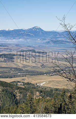 Big Choc Hill And Liptov Basin From Low Tatras, Slovak Republic. Hiking Theme. Seasonal Natural Scen