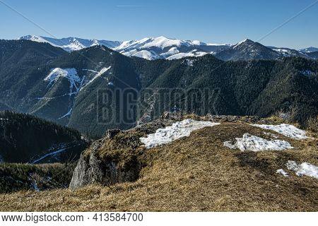 Low Tatras Mountain Range, Slovak Republic. Hiking Theme. Seasonal Natural Scene.