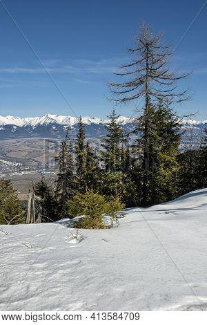 Western Tatras And Liptovsky Mikulas From Low Tatras, Slovak Republic. Hiking Theme. Seasonal Natura