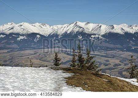 Western Tatras, High Tatras And Liptov Basin From Low Tatras, Slovak Republic. Hiking Theme. Seasona