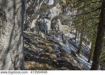 Rock Massif, Poludnica Hill, Low Tatras, Slovak Republic. Hiking Theme. Seasonal Natural Scene.