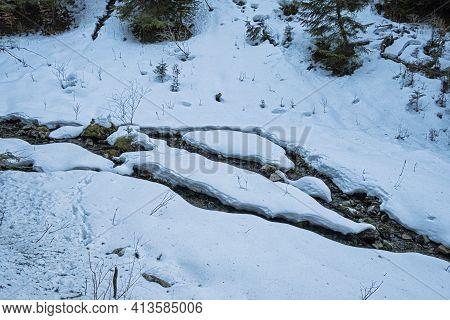 Big Snow, Ilanovska Valley, Low Tatras Mountains, Slovak Republic. Hiking Theme. Seasonal Natural Sc
