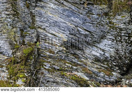 Slate Stone, Ilanovska Valley, Low Tatras, Slovak Republic. Hiking Theme. Seasonal Natural Scene.