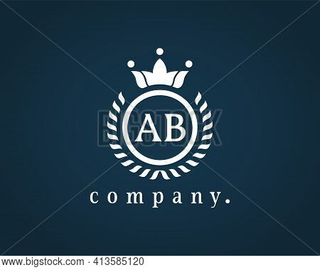 Calligraphy Letter Ab, A And B, A B Emblem For Logo, Card, Badge, Antique, Restaurant, Cafe, Boutiqu