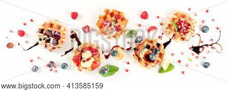 Belgian Waffles With Various Toppings And Icecream, Overhead Flatlay Shot