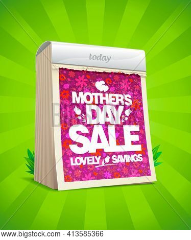 Mother's day sale banner design with tear-off calendar, lovely savings, rasterized version