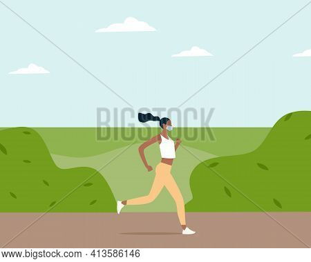 Black Woman In Facemask Running Or Jogging Through Park In Spring Time. Healthy Active Lifestyle. Ne
