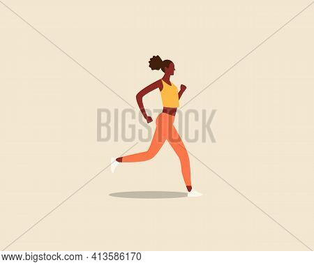 Black Woman Running Dressed In Sportswear Isolated Background. Healthy Active Lifestyle. Colorful Mo