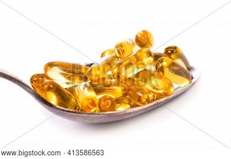 Omega 3 Pills ,fish Oil Capsules With Omega 3 And Vitamin D On White Background.