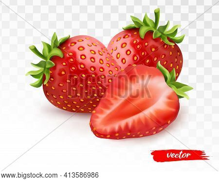 Two Whole Strawberries And Half Of Strawberry On Transparent White Background. 3d Realistic Vector I