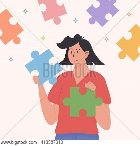 Assembling Puzzle, Finding Right Decision Idea Flat Vector. Holding Two Suitable Jigsaw Pieces. Conn