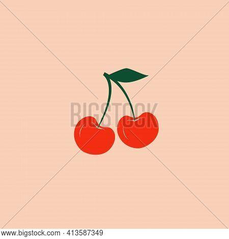 Modern Vector Cherry Illustration. Cherry Icon. Cherry Logo On Isolated Background. Flat Design Styl