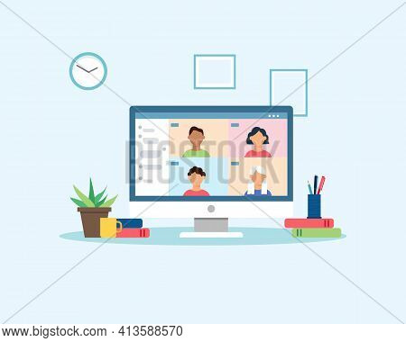 People Meeting Or Learning Online With Video Conference. Group Of People Connecting Together Virtual