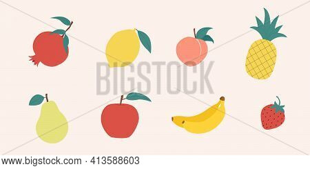 Fruit Doodles. Natural Fruits Set. Pomegranate, Lemon, Peach, Pineapple, Pear, Apple, Banana, Strawb