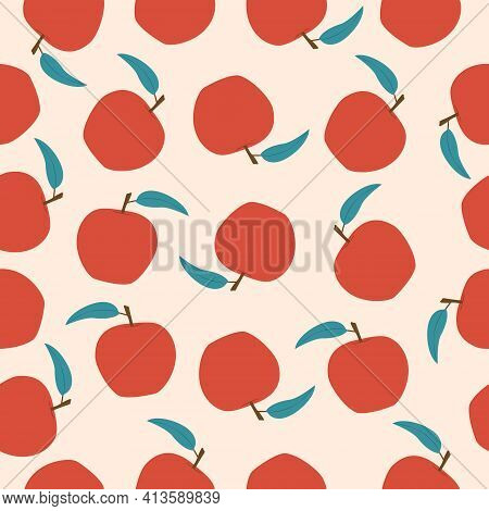 Vector Seamless Apple Fruit Pattern. Background Design For Print, Wrapping Paper, Packaging, Fabric,