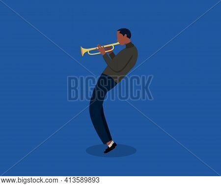Jazz Musician Playing Trumpet Instrument. Jazz Music, Jazz Singer, Concert Concept. Trumpet Player O