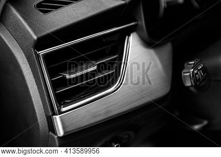 Car Air Conditioning System Grid Panel On Console, Air Ventilation. Close Up Deflector. Car Air Cond