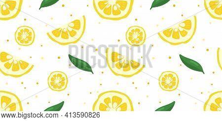 Yuzu Japanese Citron Fruit Seamless Pattern Vector Illustration Isolated On White Background.