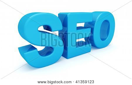SEO 3D blue letters (Search engine optimization) isolated on white background.