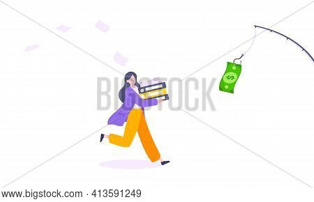 Money Chase Business Concept With Businesswoman Running After Dangling Dollar