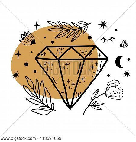 Celestial Crystal, Celestial Gems. Crystal Symbol Sketch. Hand Drawn Line Art Crystals, Botany Leaf,
