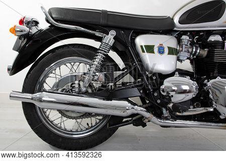 Bordeaux , Aquitaine France - 03 18 2021 : Triumph Bonneville Back Rear Detail Of T100 Motorcycle Co