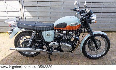 Bordeaux , Aquitaine France - 03 18 2021 : Triumph Bonneville T100 Bonnie Limited Edition 50th Anniv