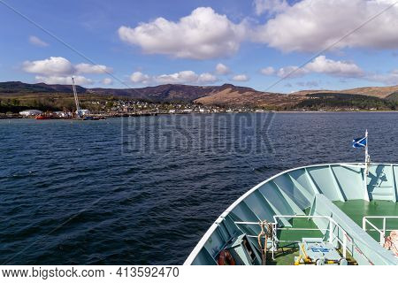 Brodick, North Ayrshire, Scotland, Uk - April 23, 2016: Approaching Brodick On The Isle Of Arran, In