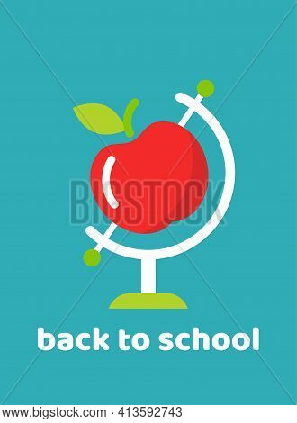 Globe With Red Apple On Blue Background. Flat Earth Planet Model. Science Symbol. School Study, Educ
