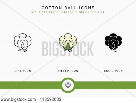 Cotton Ball Icons Set Vector Illustration With Solid Icon Line Style. Cotton Flower Concept. Editabl