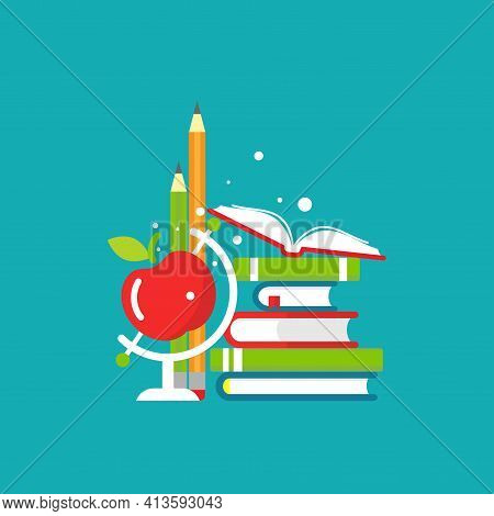 Stack Of Books, Pen, Pencil And Apple Globe On Blue Background. Vector Flat Illustration. Reading An
