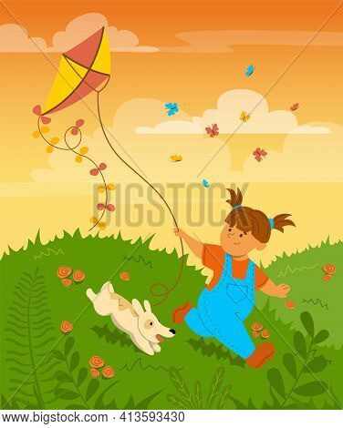 Happy Little Child Playing With A Kite Vector Illustration. Kid Having Fun With A Dog, Cute Girl Run