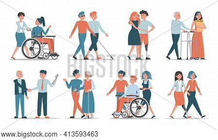 Set Of Disabled People With Friends And Family