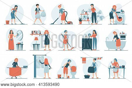 Housework Set Vector Isolated. Collection Of Women Doing House Work. Vacuum Cleaning, Clothes Ironin