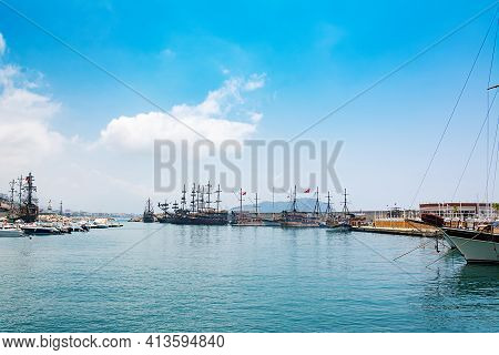 View Of Boats Yachts And Tourist Galleons Moored In Old Marina Or Port Harbor At Mediterranean Sea.