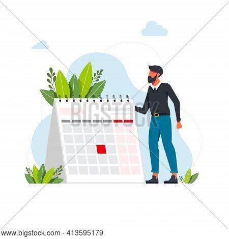 Time Management And Deadline Concept. Businessman Planning Events, Deadlines, And Agenda. Calendar,