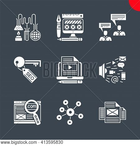 Seo Glyph Icons Set. Search Engine Optimization Related Vector Line Icons. Social Media, Domain, Mar