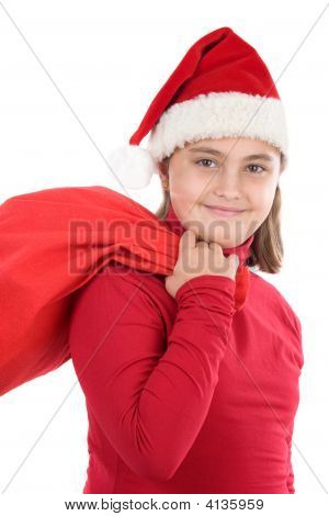 Beautiful Girl With Hat Of Christmas