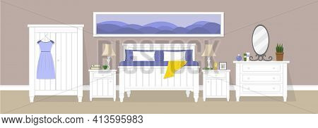 Bedroom With White Double Bed, Night Tables, Wardrobe, Chest Of Drawers, Long Picture, Lamps And Oth