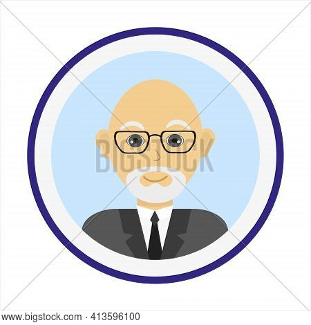 Mature Bold Man Face With White Beard And Mustache And Wearing Glasses. Male Face. Man Avatar On Blu