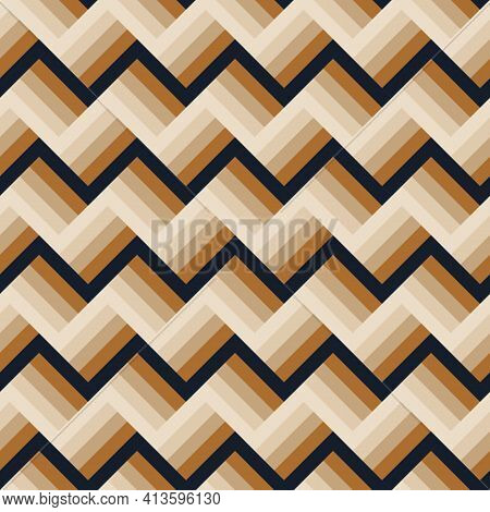 Abstract Modern Seamless 3d Effect Stripe Pattern In Trendy Colors