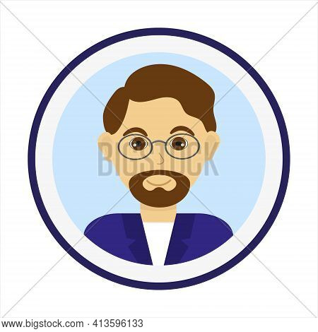 Smiling Man Face With Brown Hair, Beard And Mustache And Wearing Glasses. Male Face. Man Avatar On B