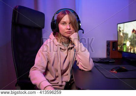 Portrait Of Streamer Gamer Girl In Neon Lights