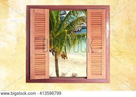 View of ocean through window with wooden shutters. Sea view room. Travel, resort , vacation and holiday concept. Beautiful tropical sea view at window in resort