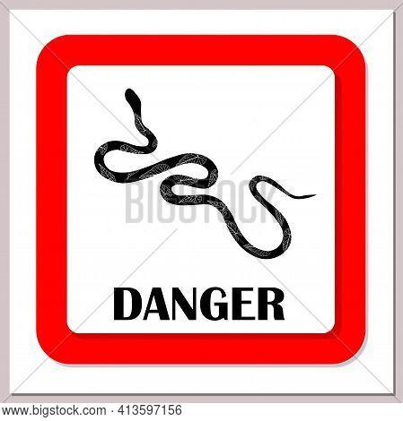 Snake Warning Sign. Poisonous Snakes. Vector Illustration