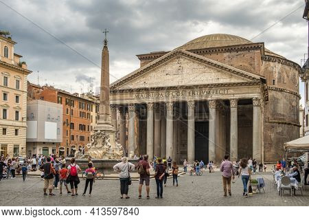 Rome, Italy - May 2, 2020: Ancient Roman Pantheon temple and Fountain with the ancient Egyptian obelisk at Rotonda square in Rome